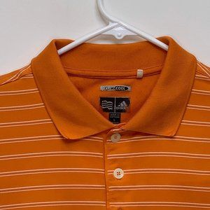 Adidas Mens Striped Orange Polo Large